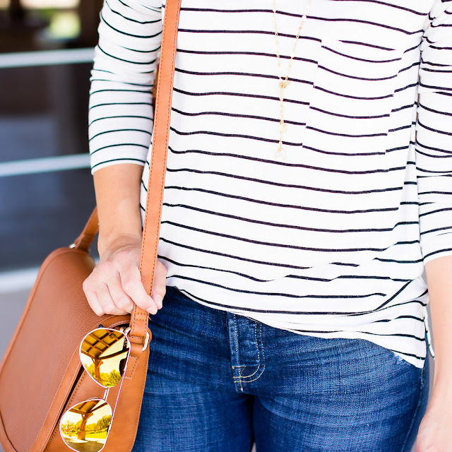 Diff eyewear sunglasses and striped bp shirt Fall Inspiration Outfit
