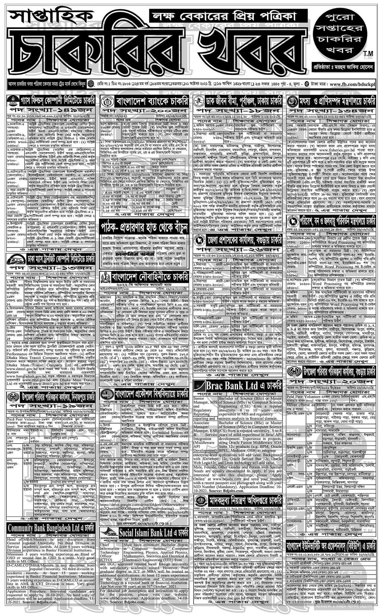 Saptahik Chakrir Khobor 01 October 2021