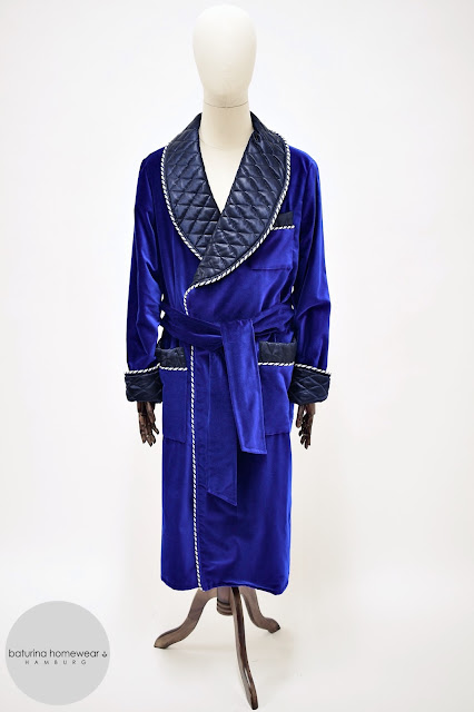 mens dark blue velvet robe quilted silk dressing gown smoking jacket warm thick long heavy