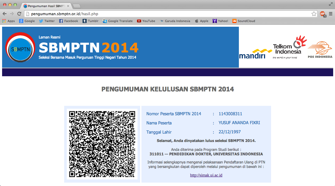 SBMPTN 2014, Getting Accepted at FKUI.