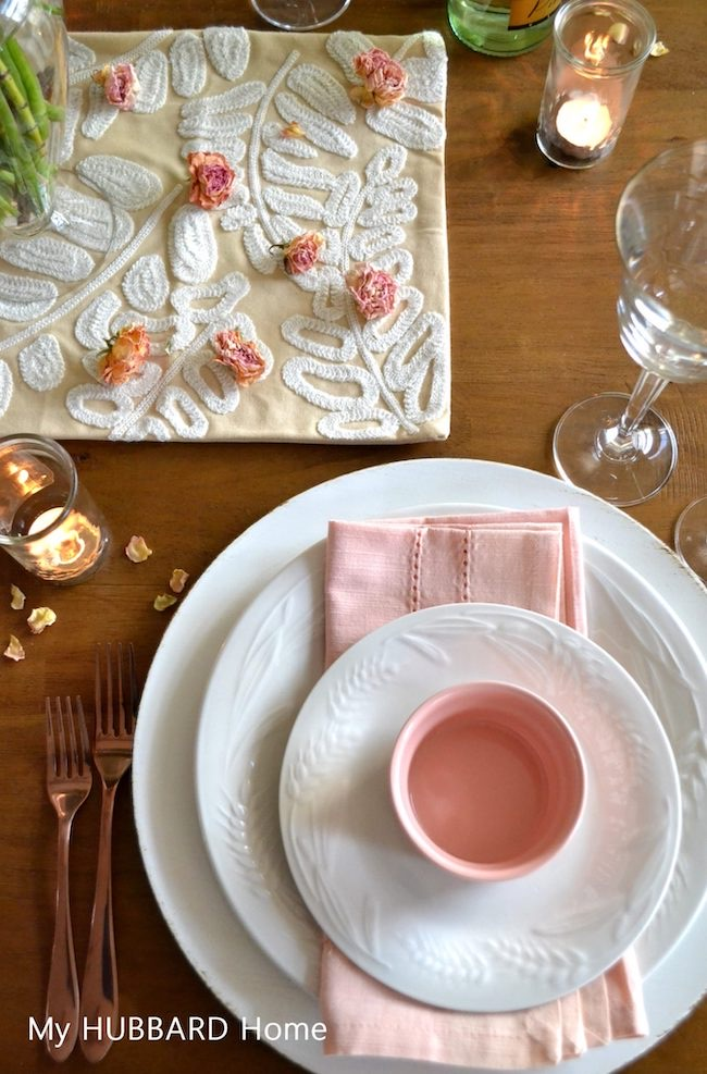 Pretty and Pink Valentine Table by My Hubbard Home featured at Pieced Pastimes