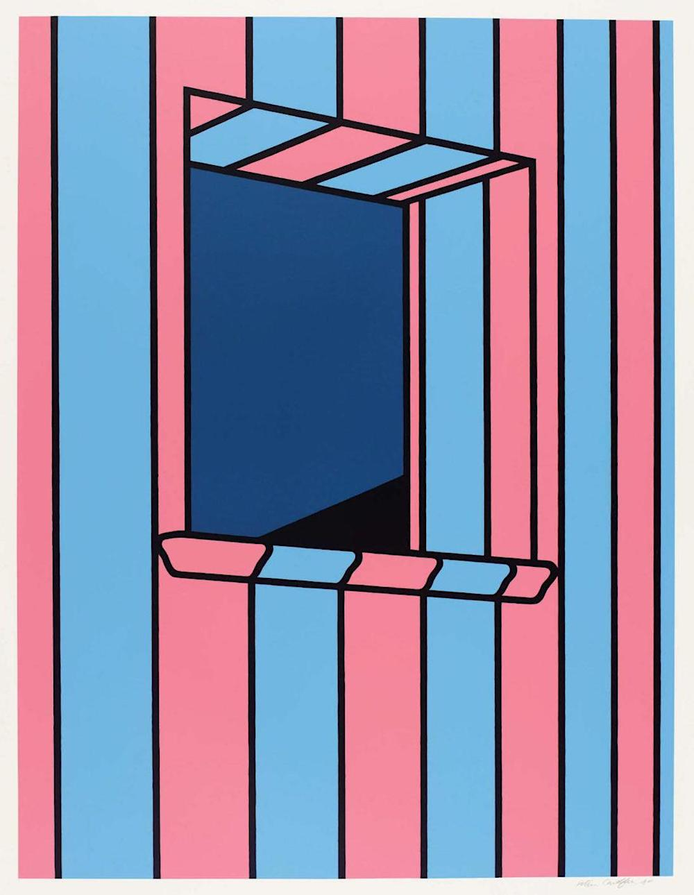 a Patrick Caulfield painting of a window in a striped wall,  1972
