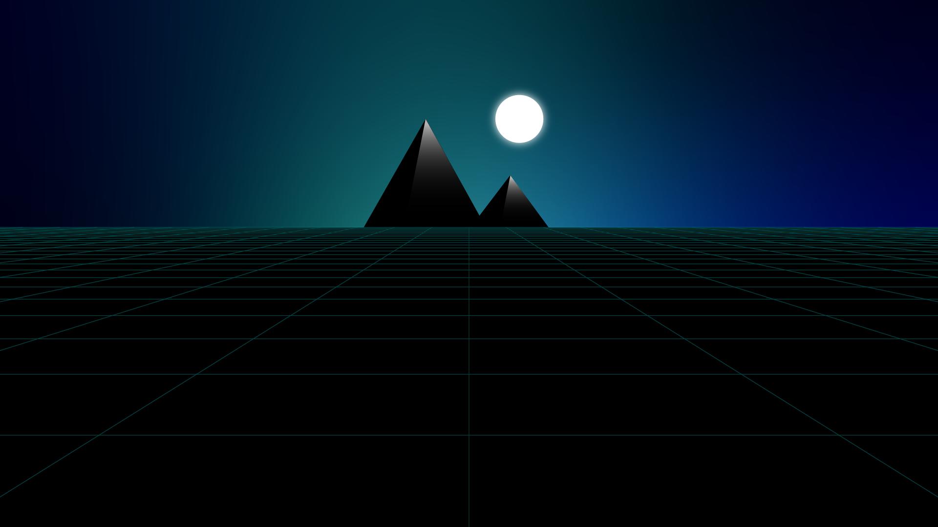 Wallpaper minimalist - Synthwave night in pyramids ...