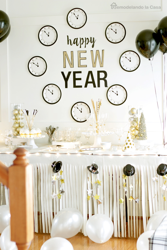 buffet table decorated for New Years.