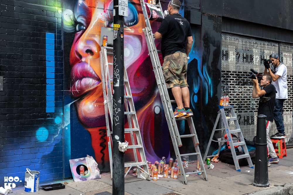 Brick Lane Street Art - Mr Cenz Mural on Bacon Street, London