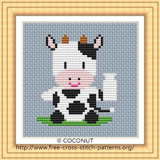 BABY COW (2), FREE AND EASY PRINTABLE CROSS STITCH PATTERN