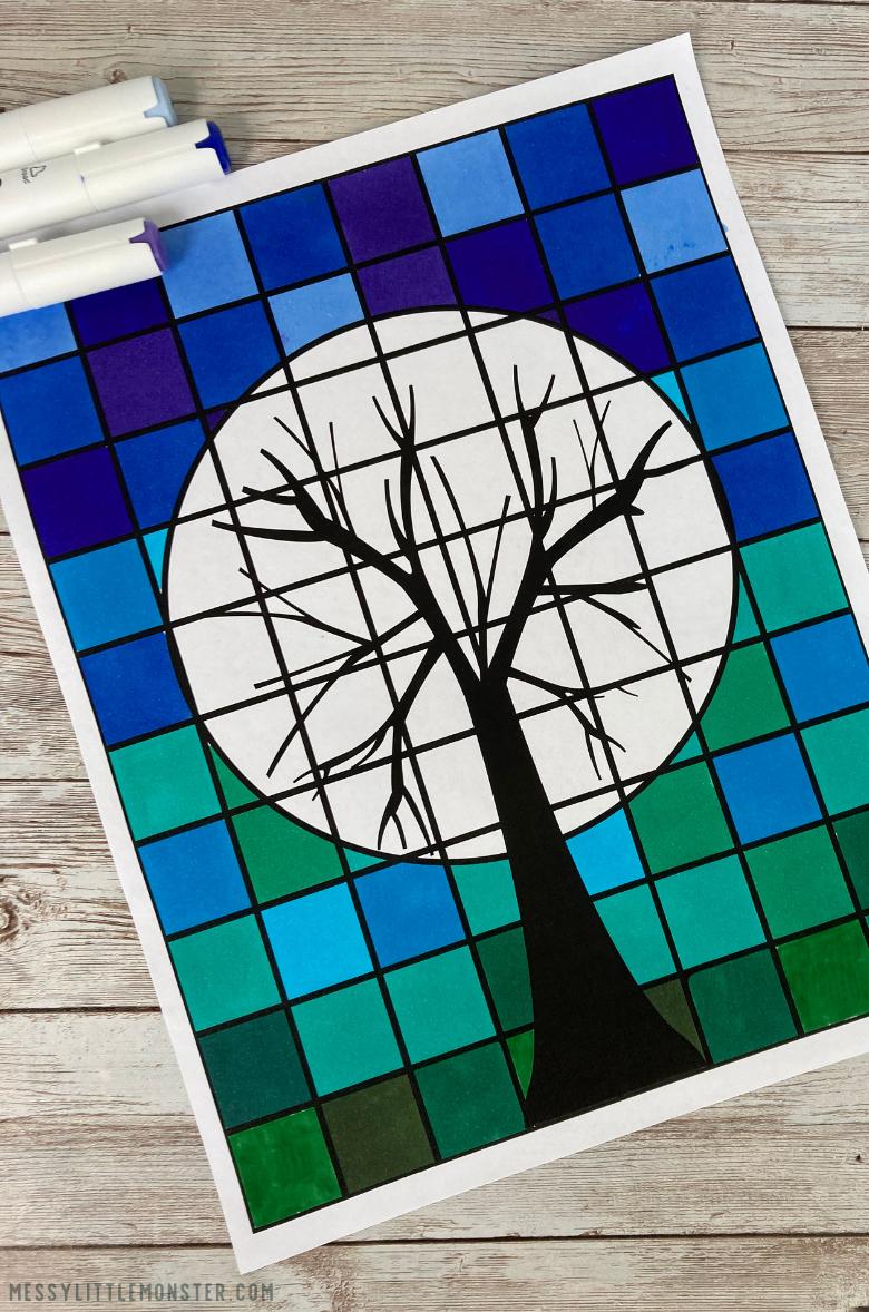 cool colours grid art project