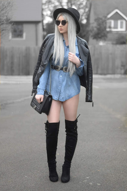 Sammi Jackson - Primark Black Fedora / Zaful Sunglasses / Shein Biker Jacket / Everything5pounds Denim Shirt / ASOS Double Buckled Belt / OASAP Quilted Flap Bag / Boohoo Thigh High Suede Boos