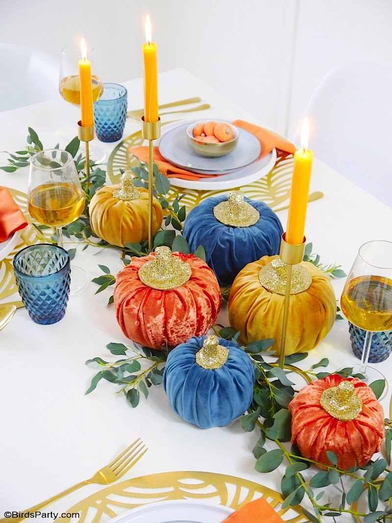 Jewel Toned Modern Thanksgiving Tablescape - easy to style ideas, DIy decorations and table decor for a contemporary take on Fall celebrations! by BirdsParty.com @birdsparty #velvetpumpkins #tablescape #tabledecor #falltablescape #thanksgiving #thanksgivingtablescape #thanksgvingtable #thanksgivingtabledecor #modernthanksgiving