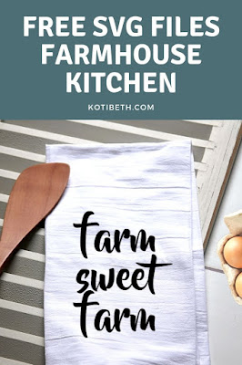 Six farmhouse kitchen SVG files. Use these free files to make tea towels or signs for the kitchen.  Cut these cute designs on your Cricut or Silhouette. These are great for a rustic, country, or farmhouse themed kitchen or home.  Makes a great handmade Christmas gift too!  #free #svg #silhouette #cricut