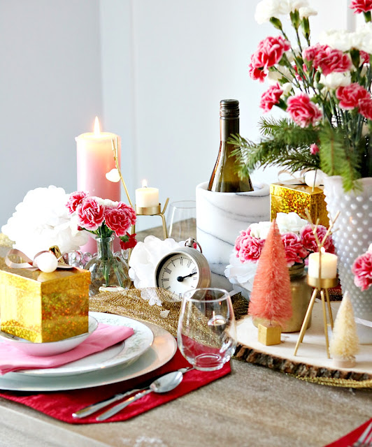 pink, white, red, gold, tablescape, athomewithjemma