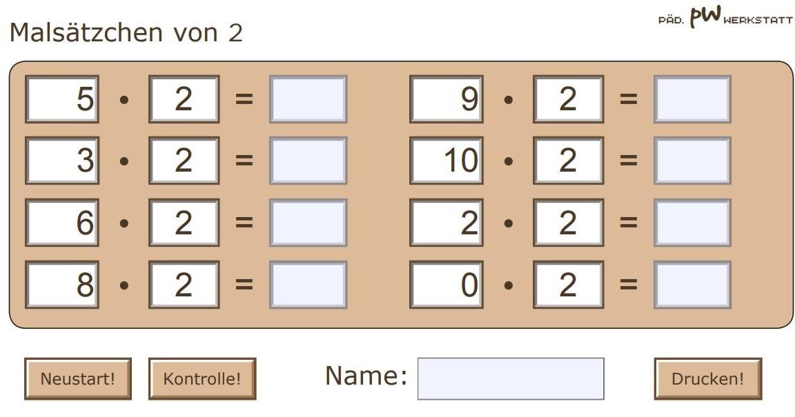 Schulerclub Dornbirn Mathematik Malreihen Arbeitsblatter Zum