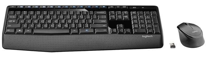 Logitech MK345 wireless keyboard and mouse combo.