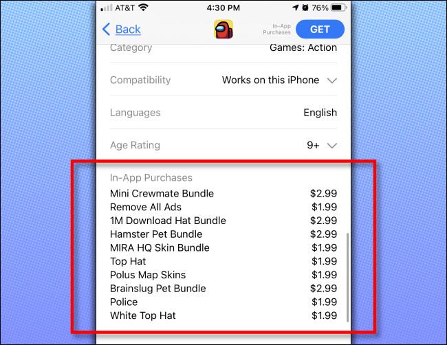 في متجر تطبيقات iPhone أو iPad ، سترى قائمة بالمشتريات داخل التطبيق المتاحة للتطبيق