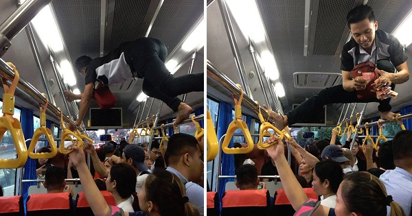 LOOK: Impressive Conductor Crawling on Handrails in Overcrowded Bus