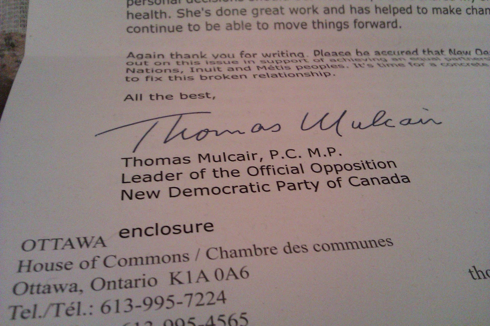 Treaty Walks: Thomas Mulcair Leader of the Official