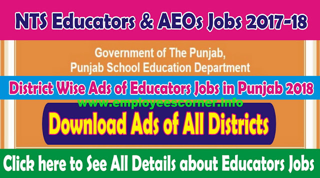 Download Educators Jobs 2017-18 District Wise advertisement