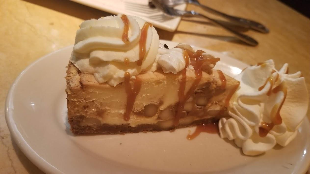 White chocolate macadamia nut cheesecake, from The Cheesecake Factory (Novi)