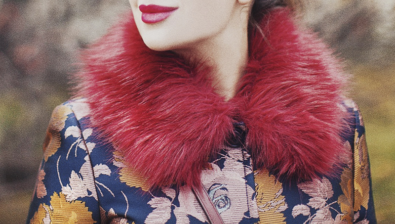 ASOS Dolly Coat in Floral with Faux Fur Collar