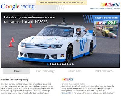 Poisson d'Avril 2012 de Google : Google Racing