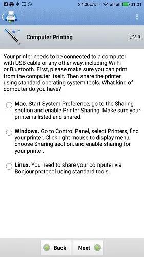 اطبع باستخدام Android Phone حدد نظام التشغيل