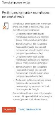 cara reset android dari jarak jauh lewat akun google