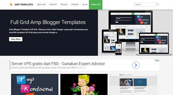 Premium Blogger Template AMP - Grid AMP
