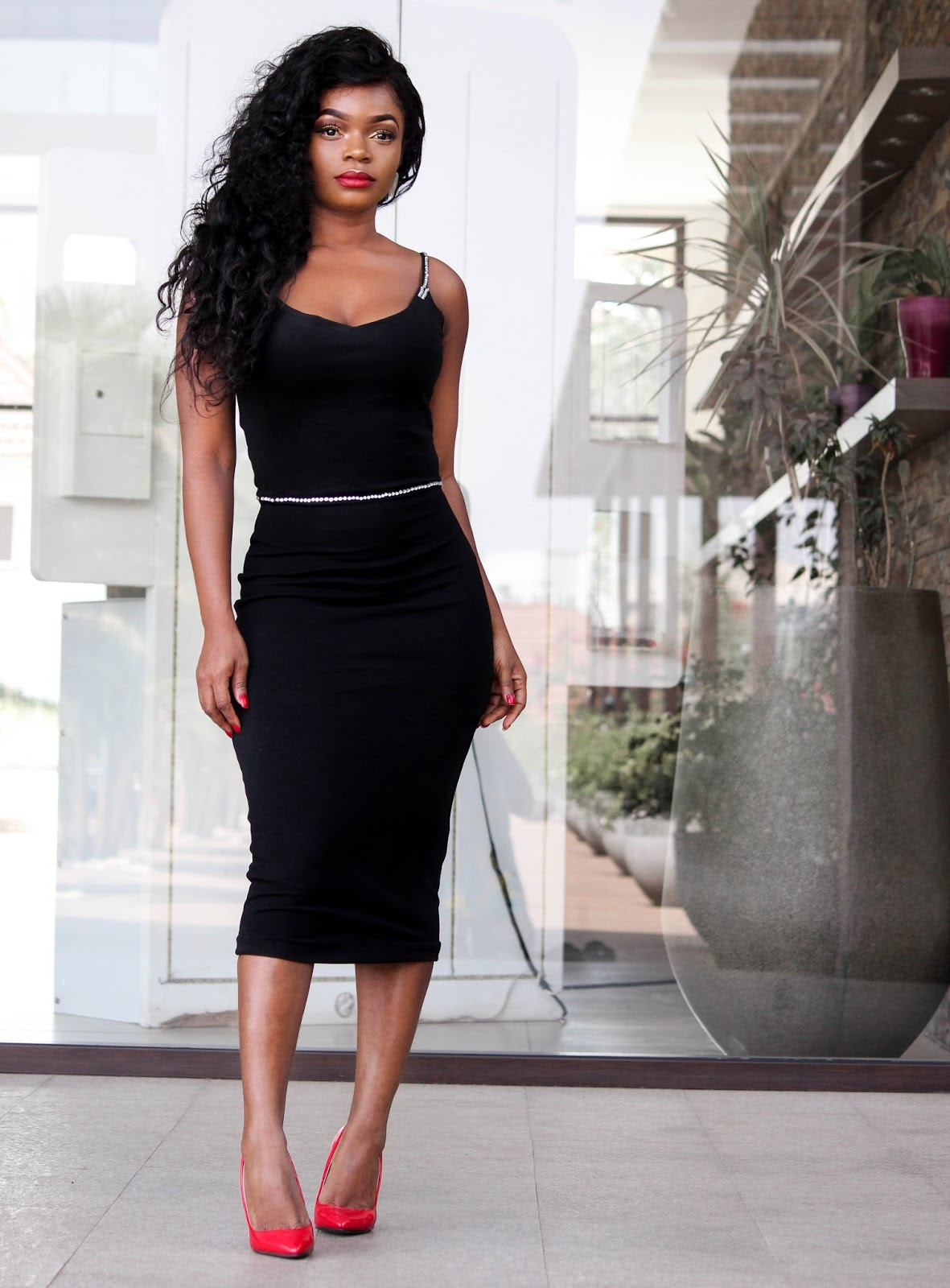 BLACK BODYCON DRESS - Black Bodycon Dress with stone detailing from Porshher