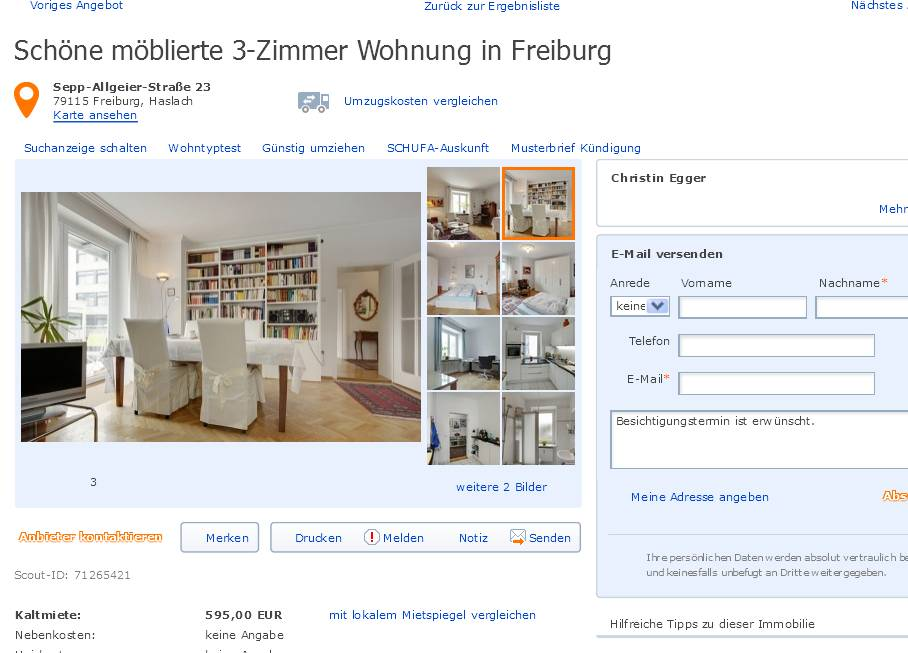 sch ne m blierte 3 zimmer wohnung in freiburg sepp allgeier stra e. Black Bedroom Furniture Sets. Home Design Ideas