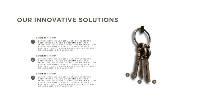 Innovative Solutions of 3 Keys Infographics Free PowerPoint Template with No Background Color