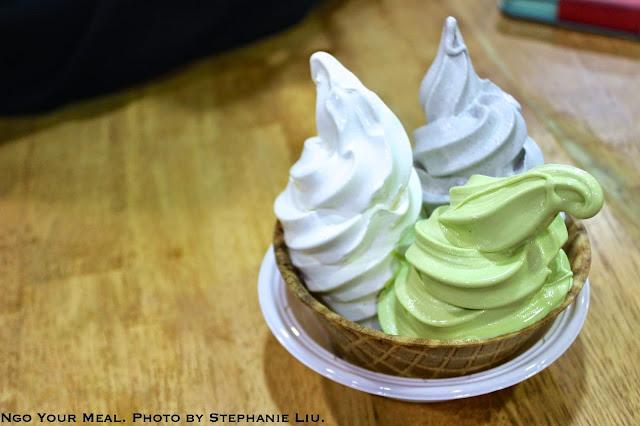 Vanilla, Matcha, and Black Sesame Soft Serve by Stephanie Liu
