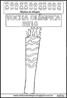 Desenho tocha olímpica 2016 para colorir