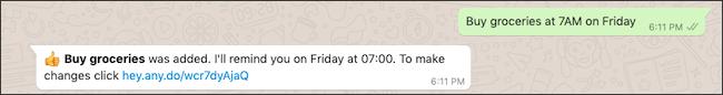 إضافة أي مهام من WhatsApp