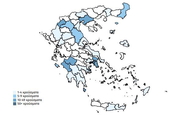 Ο χάρτης της πανδημίας στην Ελλάδα