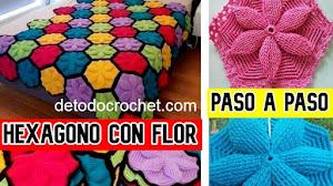 Cómo tejer hexágonos con centro de flor a crochet 💠 | Paso a paso