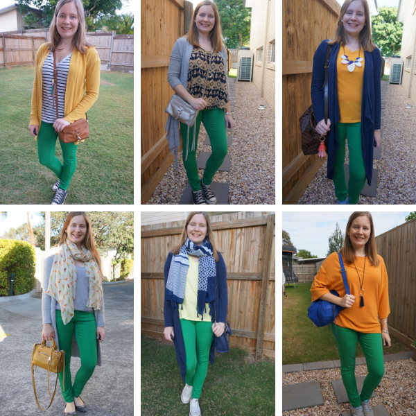 6 different yellow and green jeans outfit ideas colourful combination mum style awayfromblue