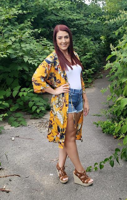OOTD: Mustard Floral Kimono