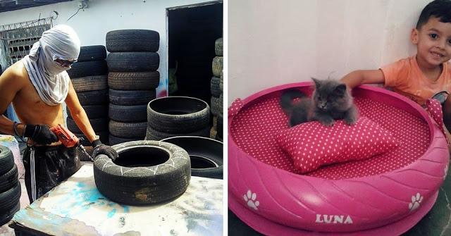 Бразилец подбирает старые грязные шины и делает из них уютные лежанки для домашних животных