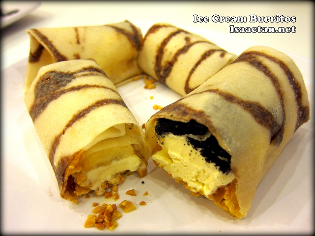 Ice Cream Burritos with Nuts and Oreos, and Mango