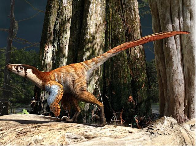 Ilustração artística da espécie de dinossauro que teve seus ossos levados ao espaço