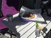 Kaffekos på verandaen.