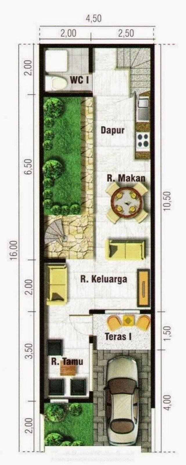 Denah Rumah Lebar 4 Meter Panjang 10 Meter Denah Rumah