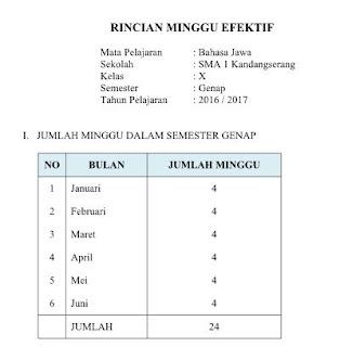 Rincian Minggu Efektfif Semester Genap Tahun Pelajaran 2016/2017