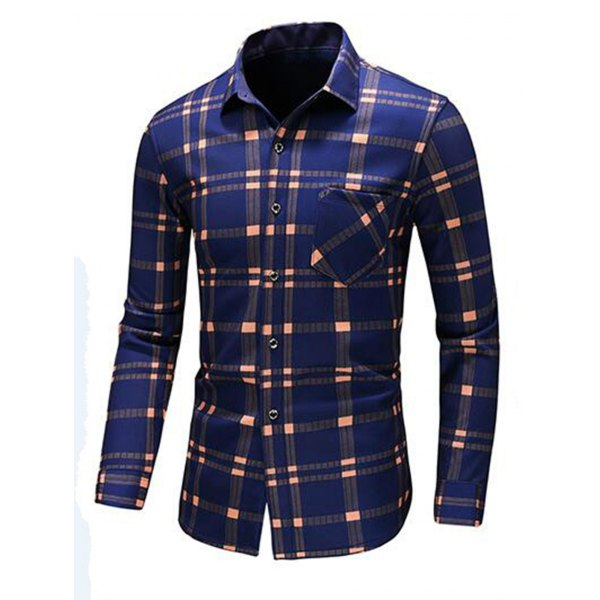 Colorblock Long Sleeve Casual Shirt -Blue 5xl