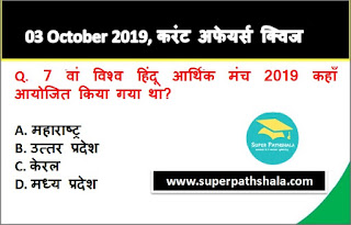 Daily Current Affairs Quiz 03 October 2019 in Hindi