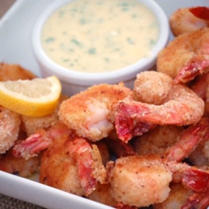 Crispy Baked Shrimp with Creamy Lemon Dressing