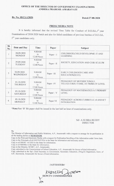 Revised time table for 1st year D.Ed Exams 2018-20 batch Available