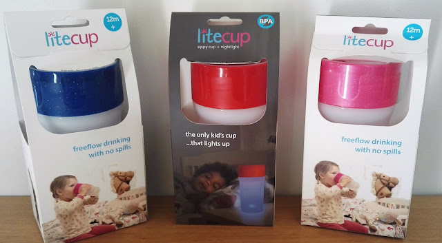Litecups in Blue, Red and Glitter pink