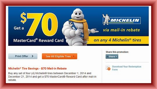 Michelin Tire Rebate and Coupons February 2018