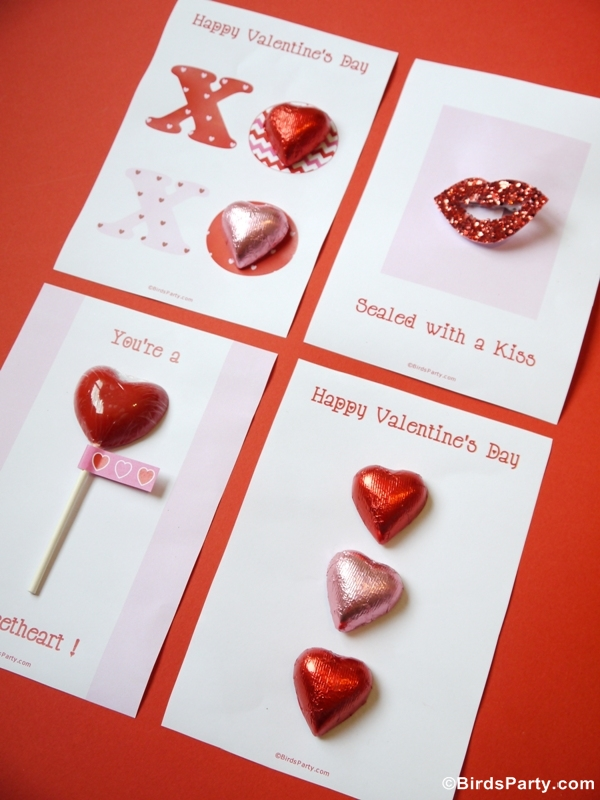 Four Valentine's Day DIY Cards with Free Printables - BirdsParty.com